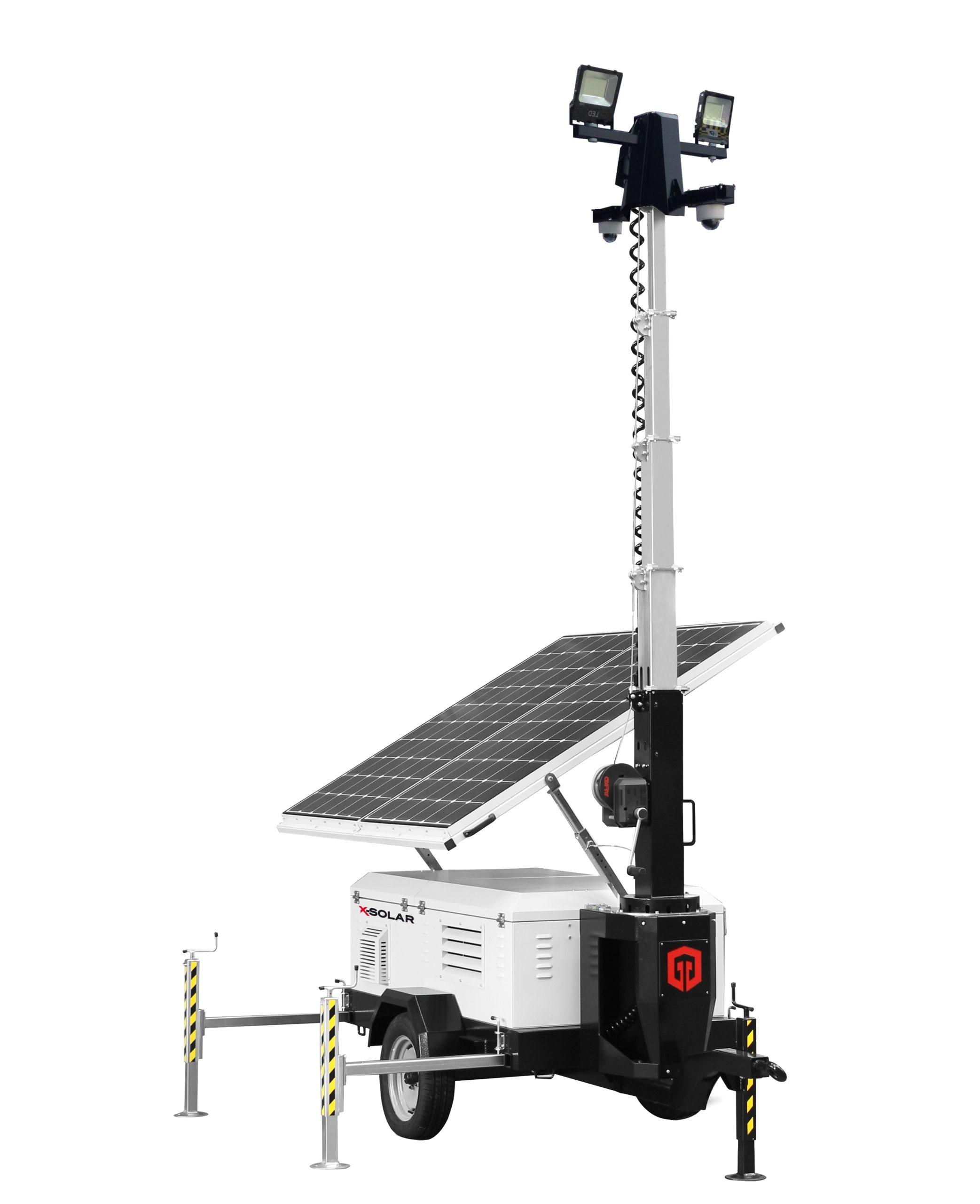 Aanhanger mobiele cameramast op zonnepanelen