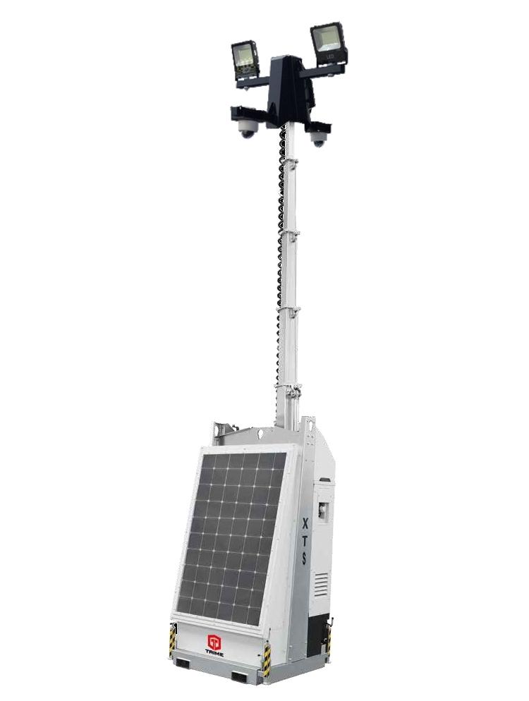 mobiele cameramast met zonnepanelen