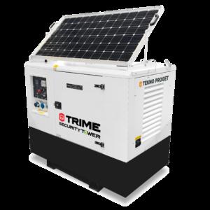 Hybride generator met zonnepaneel voor cameramast